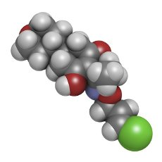 Tepraloxydim herbicide molecule, illustration. Atoms are represented as spheres with conventional colour coding: hydrogen (white), carbon (grey), nitrogen (blue), oxygen (red), chlorine (green