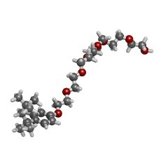 Triton x-100 detergent molecule, illustration. Atoms are represented as spheres with conventional colour coding: hydrogen (white), carbon (grey), oxygen (red