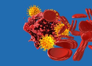 Blood clotting and coronavirus particles, conceptual illustration