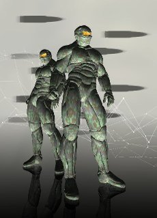 Soldiers in military combat suits, conceptual illustration