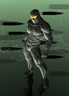 Soldier in a military combat suit, illustration