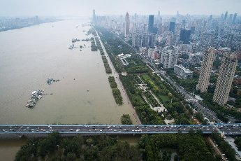 An aerial view of the Yangtze River after the flood peak goes through Wuhan city, central China\'s Hubei province, 13 July 2020. Pictured: GV,General View Ref: SPL5176688 130720 NON-EXCLUSIVE Picture by: SplashNews.com Splash News and