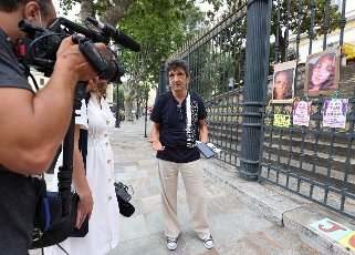 Lucien Douib and Violette Douib, Julie Douib\'s parents during the last day of the trial of the murder of their daughter at the courthouse of Bastia on June 16, 2021 on the French Mediterranean island of Corsica. The trial of the ex-boyfriend of