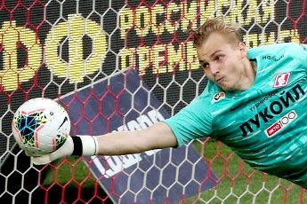 MOSCOW, RUSSIA â JULY 4, 2020: Spartak Moscow\'s goalkeeper Alexander Maksimenko dives for the ball in a 2019\/2020 Russian Premier League Round 26 football match between Spartak Moscow and FC Tambov at Otkrytie Arena. FC Tambov won 3-2. Russia\'s