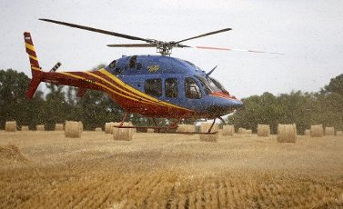 ROSTOV REGION, RUSSIA - JULY 16, 2020: A Bell 429 GlobalRanger light helicopter lands ahead of an event to demonstrate operation of a Torum 750 unmanned combine harvester equipped with the Cognitive Agro Pilot Russian remote control system in a