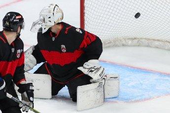 MOSCOW REGION, RUSSIA - AUGUST 12, 2020: HC Avangard Omsk\'s goalie Emil Garipov (R) concedes a goal in a friendly ice hockey match against HC Dynamo Moscow at Balashikha Arena. Stanislav Krasilnikov\/TASS