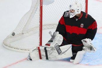 MOSCOW REGION, RUSSIA - AUGUST 12, 2020: HC Avangard Omsk\'s goalie Emil Garipov concedes a goal in a friendly ice hockey match against HC Dynamo Moscow at Balashikha Arena. Stanislav Krasilnikov\/TASS