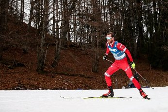 OBERSTDORF, GERMANY - MARCH 3, 2021: Russia\'s Artem Maltsev competes in the men\'s 15km freestyle event at the 2021 FIS Nordic World Ski Championships. Sergei Bobylev\/TASS