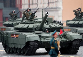 ATTENTION EDITORS! THE CAPTION IN TASS PHOTO TS0FF808 INCORRECTLY IDENTIFIED MILITARY HARDWARE. THE CORRECTED CAPTION FOLLOWS: MOSCOW, RUSSIA - MAY 9, 2021: A T-72B3M tank rolls down Moscow\'s Red Square during a Victory Day military parade