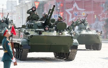 ATTENTION EDITORS! THE CAPTION IN TASS PHOTO TS0FF78C INCORRECTLY IDENTIFIED MILITARY HARDWARE. THE CORRECTED CAPTION FOLLOWS: YEKATERINBURG, RUSSIA - MAY 9, 2021: A BMP-3 infantry fighting vehicle (front) takes part in a military parade marking