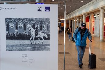 "MOSCOW REGION, RUSSIA - MAY 14, 2021: A photo exhibition titled ""I Will Not Forget 1945"" marking the 76th anniversary of the victory in World War II, at Domodedovo International Airport. Vladimir Gerdo\/TASS"