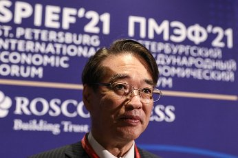 ST PETERSBURG, RUSSIA â JUNE 5, 2021: Japan\'s Ambassador to Russia Toyohisa Kozuki at the 2021 St Petersburg International Economic Forum (SPIEF), at the ExpoForum Convention and Exhibition Centre. Sergei Bobylev\/TASS Host Photo Agency