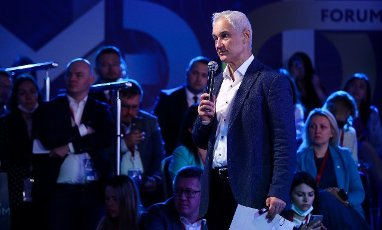 ST PETERSBURG, RUSSIA â JUNE 5, 2021: Russia\'s First Deputy Prime Minister Andrei Belousov meets with 2021 International Youth Economic Forum participants on the sidelines of the 2021 St Petersburg International Economic Forum (SPIEF), at the