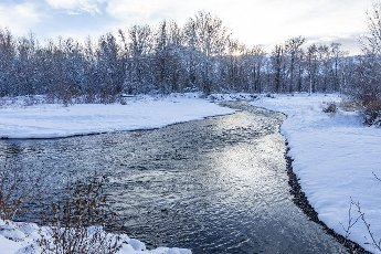 USA, Idaho, Bellevue, Winter landscape with Big Wood River