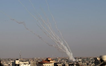 Rockets are launched from Gaza City, controlled by the Palestinian Hamas movement, towards Israel on Wednesday on May 12, 2021, amid the most intense Israeli-Palestinian hostilities in seven years. Photo by Ismael Mohamad