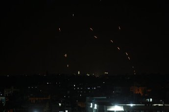 Rockets are launched from Gaza City, controlled by the Palestinian Hamas movement, towards Israel on Tuesday on May 11, 2021 Photo by Ismael Mohamad