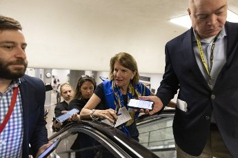 Sen. Shelley Capito, R-WV, talks to reporters before heading to the senate floor to vote on Capitol Hill in Washington, DC on Tuesday, June 8, 2021. Photo by Tasos Katopodis
