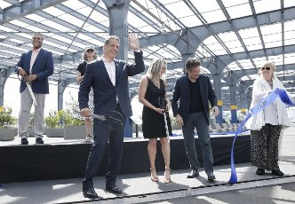 Governor Andrew Cuomo participates in the ribbon cutting ceremony for the grand opening of the new Pier 76 open space in New York City on Wednesday, June 9, 2021. Photo by John Angelillo
