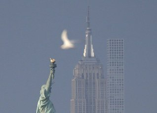 A bird moves past the Statue of Liberty, the Empire State Building and 432 Park Avenue in Bayonne, New Jersey on Wednesday, June 9, 2021. Photo by John Angelillo