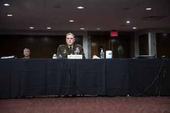 """Chairman of the Joint Chiefs of Staff Gen. Mark Milley testifies before the Senate Armed Services Committee at the U.S. Capitol in Washington DC, on Thursday, June 10, 2021. The committee heard testimony the """"Defense Department budget posture in review of the Defense Authorization Request for FY2022."""" Photo by Sarah Silbiger"""