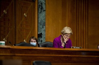 Senator Elizabeth Warren, D-MA, waits to speak during a Senate Subcommittee Hearing on the Department of Health and Human Services budget estimates for the 2022 fiscal year in Washington, DC., on Wednesday, June 10, 2021. Photo by Bonnie Cash