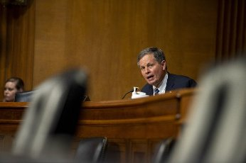 Senator Steve Daines, R-MT, speaks during a Senate Subcommittee Hearing on the Department of Health and Human Services budget estimates for the 2022 fiscal year in Washington, DC., on Wednesday, June 10, 2021. Photo by Bonnie Cash
