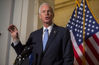 Senator Ron Johnson, R-WI, speaks during a news conference in the US Capitol in Washington, DC., on Wednesday, June 10, 2021. The conference, held by Senate republicans, discussed Big Tech and coronavirus censorship. Photo by Bonnie Cash\/UPI