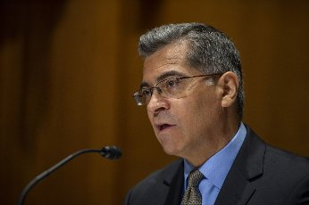 Secretary of the Department of Health and Human Services Xavier Becerra testifies before the Senate Appropriations Subcomittee at the US Capitol in Washington, DC., on Wednesday, June 10, 2021. Photo by Bonnie Cash