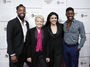 """Jonathan Rush, Marin Alsop, Alexandra Arrieche and Curtis Bannister arrive on the red carpet at the 2021 Tribeca Festival premiere of """"The Conductor"""" at Hudson Yards on June 14, 2021 in New York City. Photo by John Angelillo"""