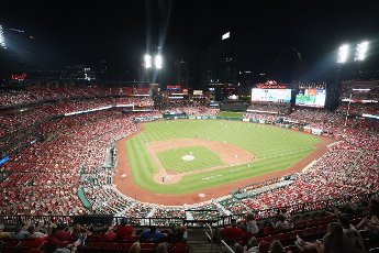 The St. Louis Cardinals have opened Busch Stadium for full capacity starting with the game against the Miami Marlins at Busch Stadium in St. Louis on Monday, June 14, 2021. Photo by Bill Greenblatt