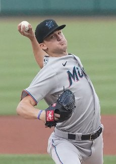 Miami Marlins starting pitcher Braxton Garrett delivers a pitch to the St. Louis Cardinals in the first inning at Busch Stadium in St. Louis on Monday, June 14, 2021. Photo by Bill Greenblatt
