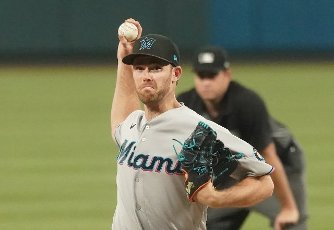 Miami Marlins pitcher Anthony Bender delivers a pitch to the St. Louis Cardinals in the fifth inning at Busch Stadium in St. Louis on Monday, June 14, 2021. Photo by Bill Greenblatt