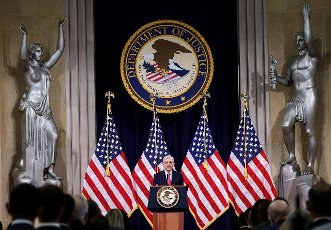 U.S. Attorney General Merrick Garland speaks during an event at the Justice Department on Tuesday, June 15, 2021 in Washington, DC. Garland addressed domestic terrorism during his remarks. Pool Photo by Win McNamee