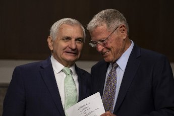 Chairman Sen. Jack Reed, D-R.I and Sen. Jim Inhofe, R-OK, chat before the start of the hearing on Defense Authorization Request for fiscal 2022 and the Future Years Defense Program on Capitol Hill in Washington, DC on Tuesday, June 15, 2021. Photo by Tasos Katopodis