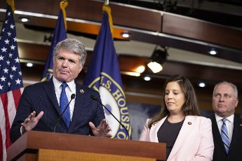 Rep. Michael McCaul, R-TX speaks as Rep. Elise Stefanik, R-NY and House Minority Whip Steve Scalise, R-La listen\'s on, at a news conference after a House Republicans Caucus Meeting on Capitol Hill in Washington, DC on Tuesday, June 15, 2021. Photo by Tasos Katopodis