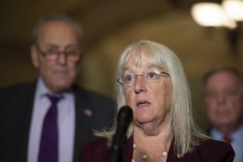 Assistant Democratic Leader Senator Patty Murray, D-WA, and other Senate democrats hold a press conference after their weekly luncheon at the US Capitol in Washington, DC., on Tuesday, June 15, 2021. . Photo by Bonnie Cash