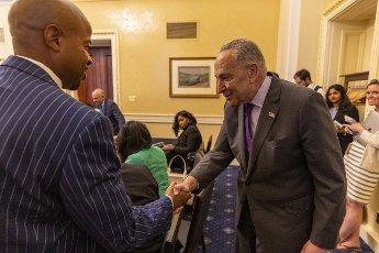 Senate Majority Leader Charles Schumer D-NY, meets with Texas State Legislature members at the U.S. Capitol in Washington, DC on Tuesday, June 15, 2021. Photo by Tasos Katopodis\/UPI