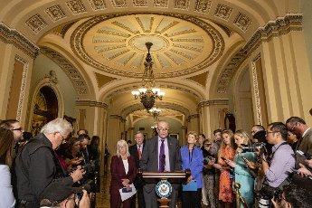 Senate Majority Leader Charles Schumer D-NY., speaks at a press a conference by Democratic leadership at the U.S. Capitol in Washington, DC on Tuesday, June 15, 2021. Photo by Tasos Katopodis\/UPI
