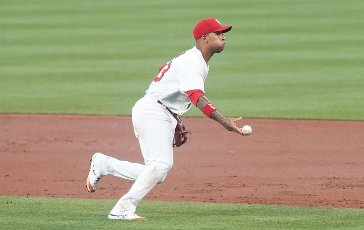 St. Louis Cardinals Edmundo Sosa throws the baseball underhand to first base to get Miami Marlins Jon Berti in the third inning at Busch Stadium in St. Louis on Tuesday, June 15, 2021. Photo by Bill Greenblatt