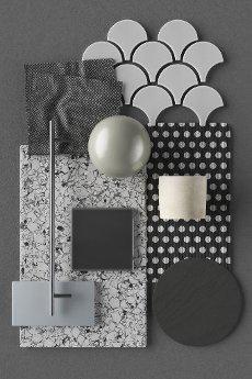 Three dimensional render of various interior design material samples