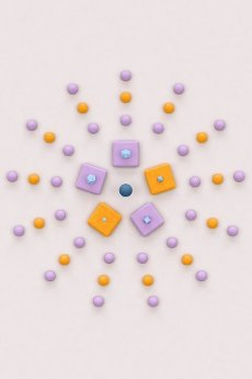 Blue pyramids, cubes and platonic icosahedrons on orange and violet background - Abstract 3D render