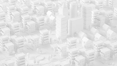 White three dimensional render of city downtown
