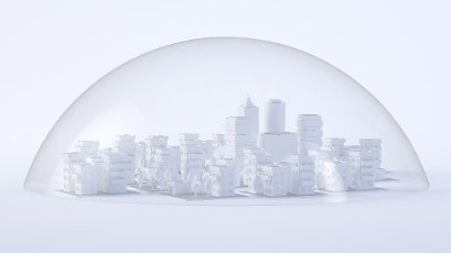 White three dimensional render of glass dome covering diorama of city downtown