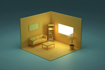 Three dimensional render of yellow colored corner of living room