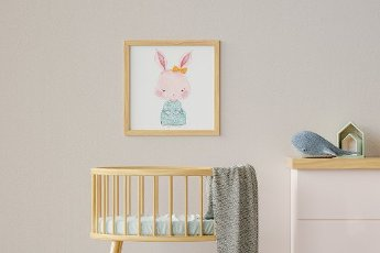 Three dimensional render of picture hanging on wall over empty crib