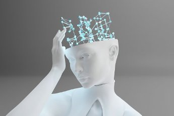 Three dimensional render ofgynoidtouching digital brain representing machine learning and artificial intelligence