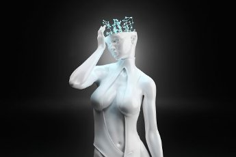 Three dimensional render of gynoid touching digital brain representing machine learning and artificial intelligence
