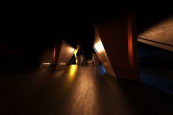 Three dimensional render of rows of columns in dark hall
