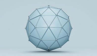 Polyhedron sphere against blue background