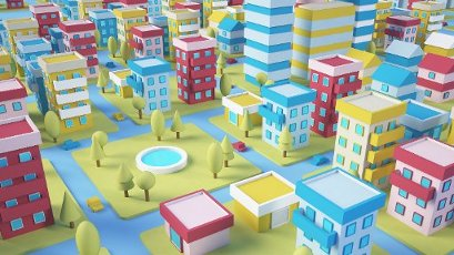 Three dimensional render of diorama of colorful city